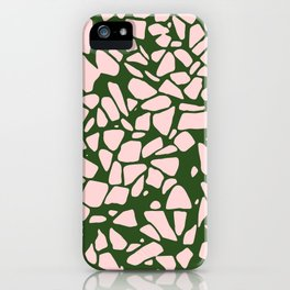 Stone Pattern - Salmon Pink & Olive Green iPhone Case