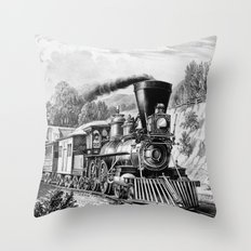 The Express Train 1870 Throw Pillow