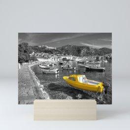 Yellow boat of Hvar in mono Mini Art Print