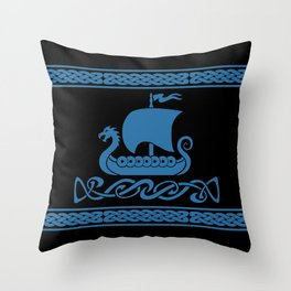 Drgon Boat - Blue Throw Pillow