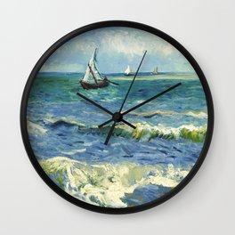 Seascape near Les Saintes-Maries-de-la-Mer (1888) by Vincent van Gogh  Wall Clock
