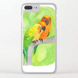 Three Parrots Clear iPhone Case
