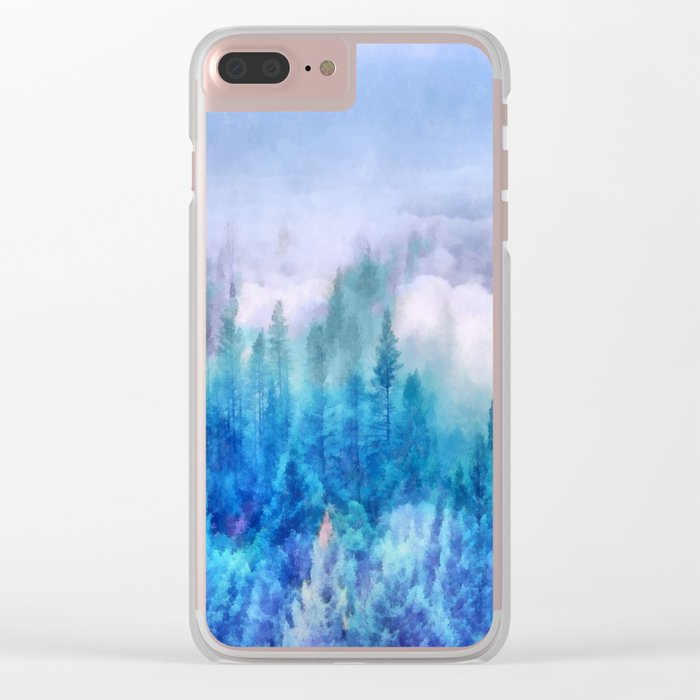 Clouds over pine forest Clear iPhone Case