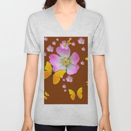 COFFEE BROWN YELLOW BUTTERFLIES & PINK WILD ROSES Unisex V-Neck