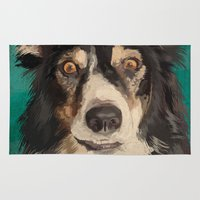 border collie Area & Throw Rugs featuring Quinn the Welsh border collie by Carl Conway