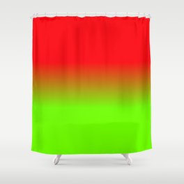 Neon Red and Neon Green Ombré  Shade Color Fade Shower Curtain