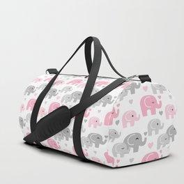 Pink Gray Elephant Baby Girl Nursery Duffle Bag