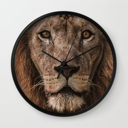 BROWN LION IN CLOSE UP PHOTOGRAPHY Wall Clock
