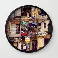 hong kong Wall Clocks featuring Doors of Hong Kong by Olivia Tse (OliviaOliveTea)