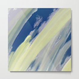 Watercolor blue yellow gray silver glitter brushstrokes Metal Print