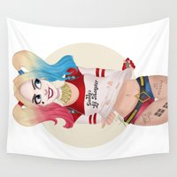 harley quinn Wall Tapestries featuring Harley Quinn by Joan Pons