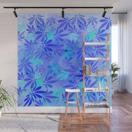 Blue Frost Cannabis Swirl Wall Mural