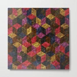 Colorful Isometric Cubes III Metal Print