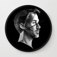 ryan gosling Wall Clocks featuring Ryan Gosling by anomaly alice