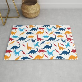 Dinos Pattern in Red, Blue and Orange Rug