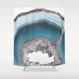 Deep Blue Agate with Amethyst Shower Curtain