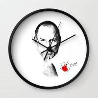 steve jobs Wall Clocks featuring Steve Jobs by lovetoclick