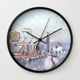 Rain in city Wall Clock