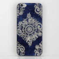 white iPhone & iPod Skins featuring Cream Floral Moroccan Pattern on Deep Indigo Ink by micklyn