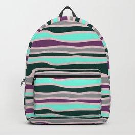 Geometrical mauve violet teal gray forest green stripes Backpack
