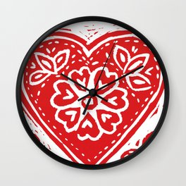 Cariad Darling sweetheart lino print red Wall Clock