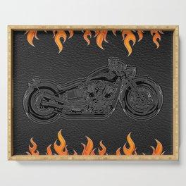 Motorcycle & Orange Flames Serving Tray