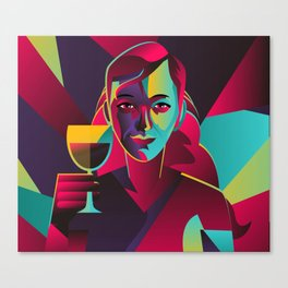 colorful cubist girl drinking wine Canvas Print