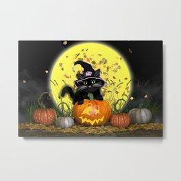 Pumpkin Kitty Metal Print