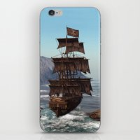 pirate ship iPhone & iPod Skins featuring Pirate Ship by Simone Gatterwe