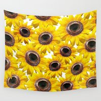 sunflowers Wall Tapestries featuring Sunflowers by Regan's World