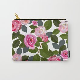 Pink Roses and Leaves Hand Drawn Pattern Carry-All Pouch