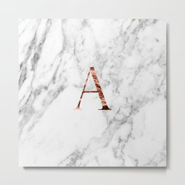Monogram rose gold marble A Metal Print