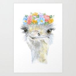 Ostrich Floral Watercolor Painting Nursery Art Art Print