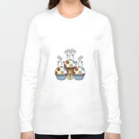 polkadot Long Sleeve T-shirts featuring Cute Monster With Blue And Brown Polkadot Cupcakes by Mydeas