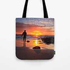 Evening Sunset Surfing Tote Bag