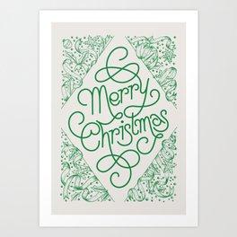 Classic Merry Christmas / GREEN Art Print