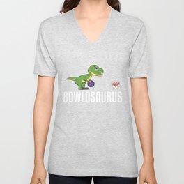Bowling Dinosaur Bowler Strike Dino Unisex V-Neck
