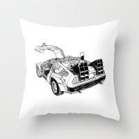 delorean Throw Pillows featuring delorean by marzini