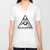 all seeing eye V-neck T-shirts featuring ALL SEEING EYE  by ANOMIC DESIGNS
