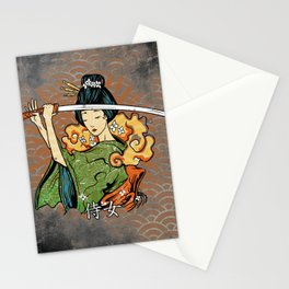 Samurai Woman, Geisha Warrior, Ronin, Gift to Any Martial Arts Girl Stationery Cards