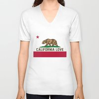 2pac V-neck T-shirts featuring California Love by Poppo Inc.