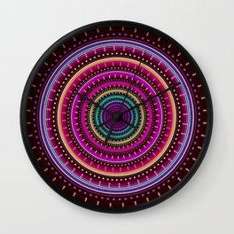 Colorful patterns and textured mandala Wall Clock