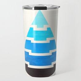 Cerulean Blue Gouache Painting Aztec Minimalist Abstract Geometric Pattern Pyramid Travel Mug