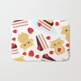 attern cute kawaii hamster with fresh Strawberry, cake decorated pink cream and chocolate Bath Mat