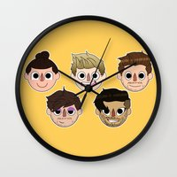 animal crossing Wall Clocks featuring Animal Crossing One Direction by Pinkeyyou