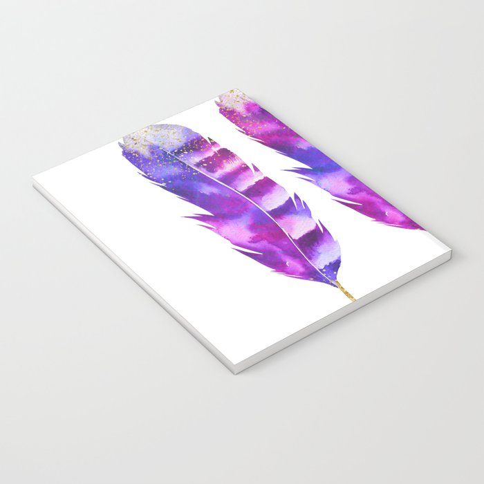 Pink Feathers watercolor painting Notebook