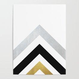 Minimalist Geometric - Black & Gold Poster