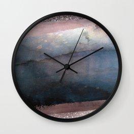 Rose Gold Blush Pink & Blue Watercolor Wall Clock