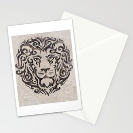 black lion on French newsprint Stationery Cards