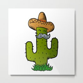 mexican cactus with mustache Metal Print